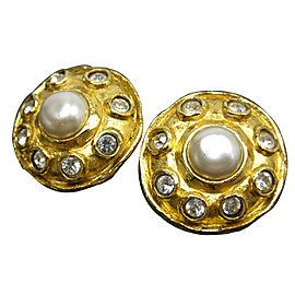Chanel Gold Tone Imitation Pearl Stone Earrings