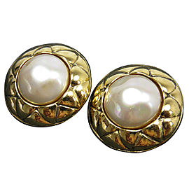 Chanel Gold Tone Imitation Pearl Earrings
