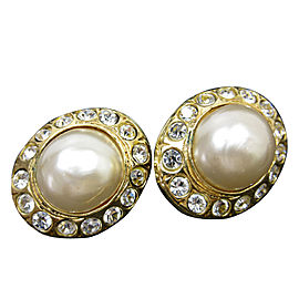 Chanel Gold Tone Imitation Pearl Rhinestone Earrings