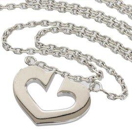 Cartier 18K White Gold C Heart Pendant Necklace