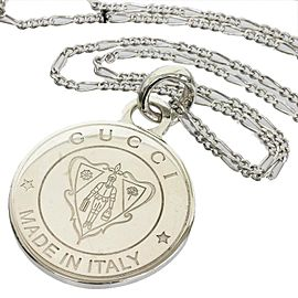 Gucci 925 Sterling Silver Crest Circle Plate Chain Pendant Necklace