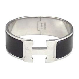 Hermes Metal Enamel Bangle Bracelet