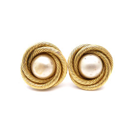 Chanel Gold Tone Imitation Pearl Earrings