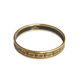 Hermes Goldtone Narrow Cloisonne Bracelet Bangle