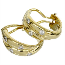 Tiffany & Co. 18K Yellow Gold Platinum Dot Diamond Earrings