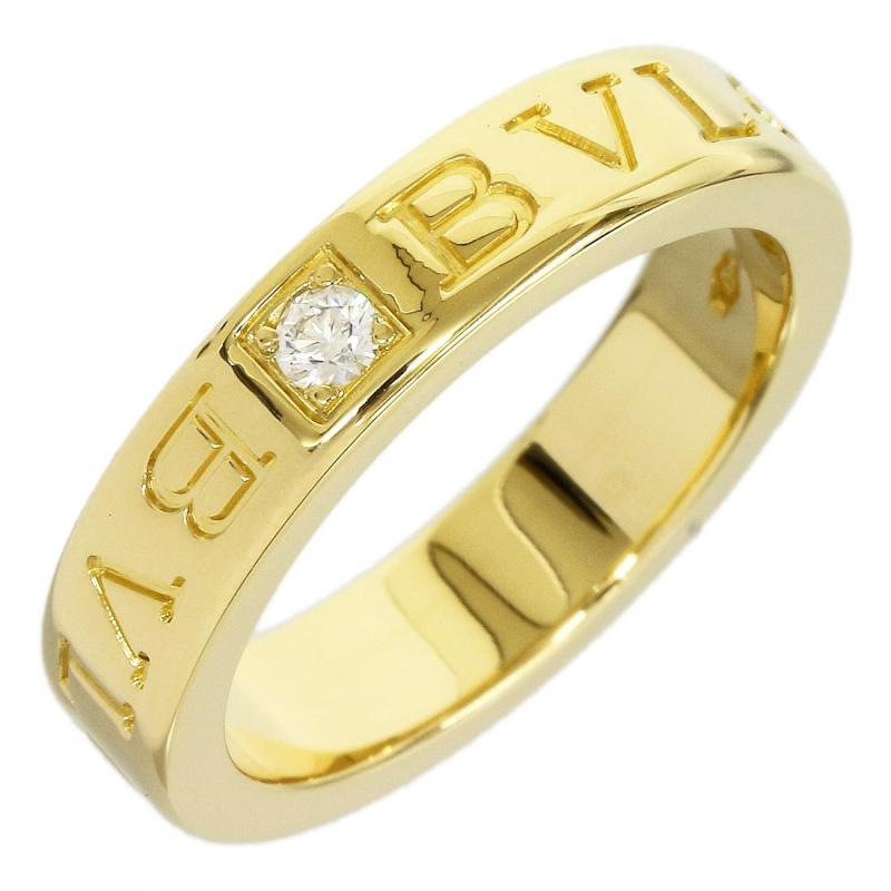 "Image of ""Bulgari 18K Yellow Gold Double Logo One Piece Diamond Ring Size Small"""