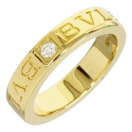 Bulgari 18K Yellow Gold Double Logo One Piece Diamond Ring Size Small