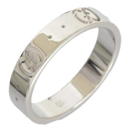 Gucci 18K White Gold Icon Band Ring Sz 5.25