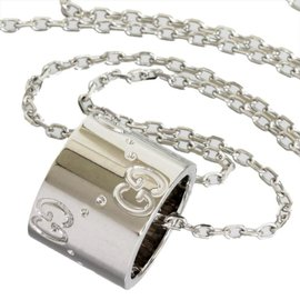 Gucci 18K White Gold Icon Pendant Necklace