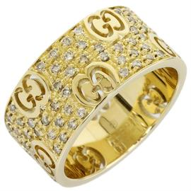 Gucci 18K Yellow Gold & Diamond Icon Stardust Band Ring Sz 6