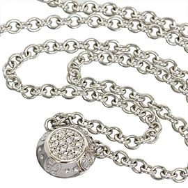 Gucci 18K White Gold Pave Diamond Icon Twirl Pendant Necklace