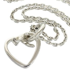 Hermes 925 Sterling Silver Heart Motif Pendant Necklace