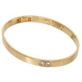 Hermes 18K Rose Gold H Logo Diamonds Bangle Bracelet
