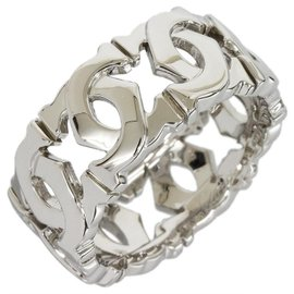 Cartier 18K White Gold Entrelaces Band Ring Size 4.75