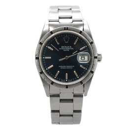 Rolex Oyster Perpetual Stainless Steel Date Black Dial Mens Watch