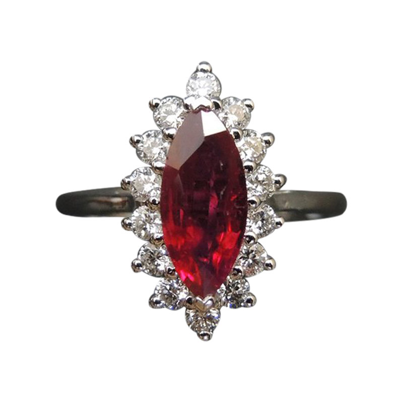 "Image of ""1.08ct Ruby & 0.42ct Diamond Engagement Ring Sz 6.75"""