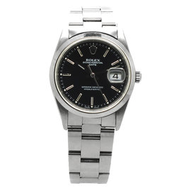 Rolex Stainless Steel Oyster Perpetual Date Black Dial Mens Watch