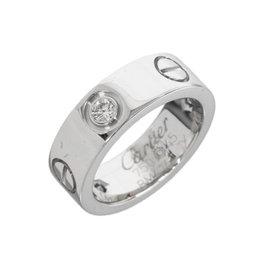 Cartier 18K White Gold Half Diamonds Love Ring US Size 3.25