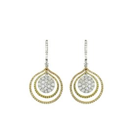18K WHITE ROSE AND YELLOW GOLD DIAMOND EARRINGS