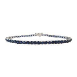 14K White Gold Blue Sapphire Tennis Bracelet