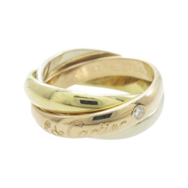 Cartier Trinity 750 Yellow, White & Pink Gold Ring Size 4
