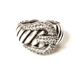 David Yurman Classic Cable Sterling Silver 0.61 Ct Diamond Buckle Ring Size 7