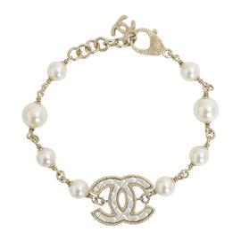 Chanel Gold Tone Metal Pearl Bracelet