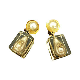 Chanel Gold Tone Hardware Faux Pearl Earrings