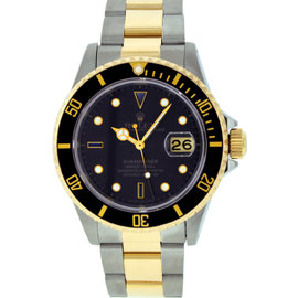 Rolex Submariner 16613 Stainless Steel & 18K Yellow Gold Grey Diamond and Sapphire 40mm Mens Watch