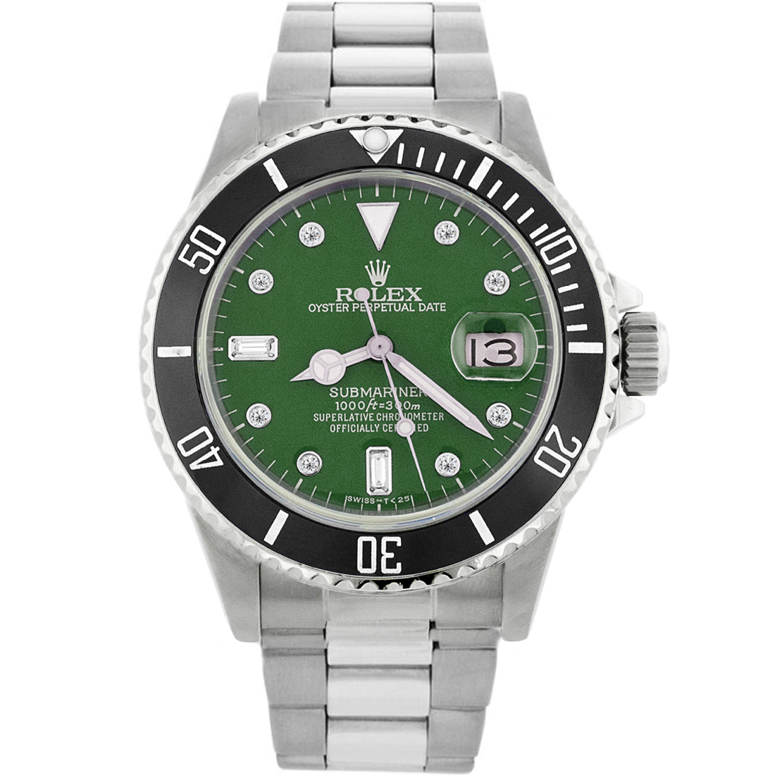 """Image of """"Rolex Submariner Stainless Steel & Green Dial 40mm Mens Watch"""""""
