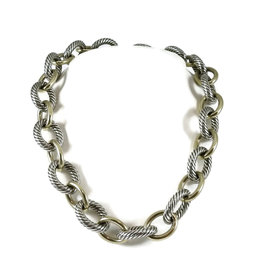 David Yurman Sterling Silver 18K Bonded Yellow Gold Cable Classic Necklace