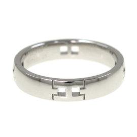 Hermes 18K White Gold Hercules Ring Size 4