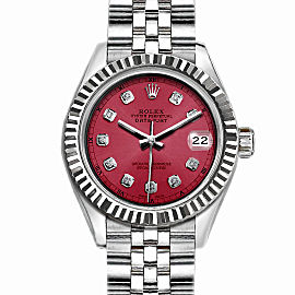 Rolex Datejust Stainless Steel with Red Dial 36mm Unisex Watch