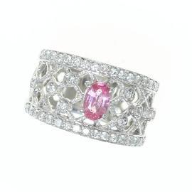 Louis Vuitton Pt900 Platinum Diamond & Sapphire Ring Size 5.25