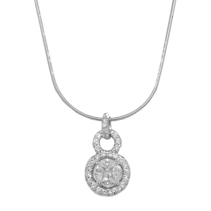 "Image of ""Jude Frances Diamond Pendant 18K White Gold Diamond Necklace"""