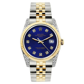 Rolex Date 18K Yellow Gold & Stainless Steel Diamond 34mm Watch