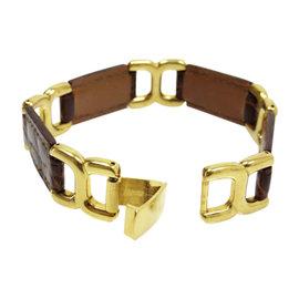 Hermes Porosus Brown Leather and Gold Tone Bracelet