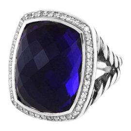 David Yurman Albion Sterling Silver Amethyst & Diamonds Ring Size 7