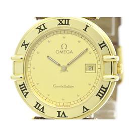 Omega Constellation 18K Solid Gold Leather Quartz 32mm Mens Watch