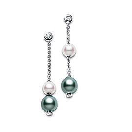 Mikimoto 18K White Gold Pearls Motion Earrings