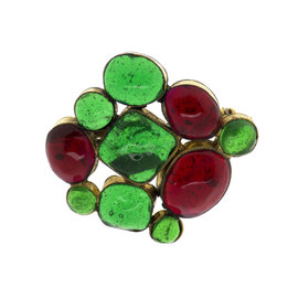 Chanel Gold Tone Metal Early Gripox Glass Stones Glass Brooch