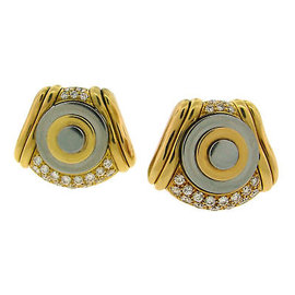 Vintage Bulgari Two-Tone Gold Diamond Earrings