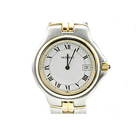 Movado 81 E2 887 2 Stainless Steel Vintage Style Two-Tone White Dial Men's Watch