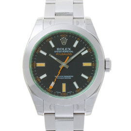 Rolex Milgauss 116400 Green Crystal Black Dial Watch
