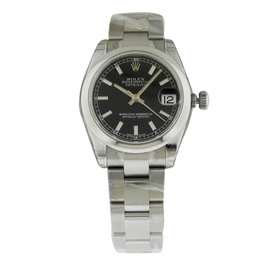 Rolex Datejust 178240 31mm Steel Black Index Oyster Watch