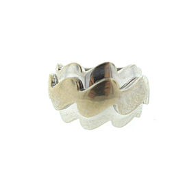 VCA Can Cleef & Arpels 18K White Gold Wavy Ring Band Sz 52