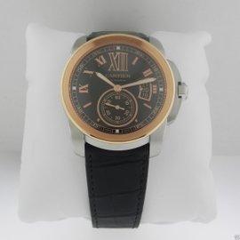 Cartier Calibre de Cartier W7100051 Auto Steel/Gold Strap Chocolate Dial Mens Watch