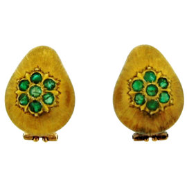 Buccellati 18K Yellow Gold & Emerald Earrings Circa 1980s