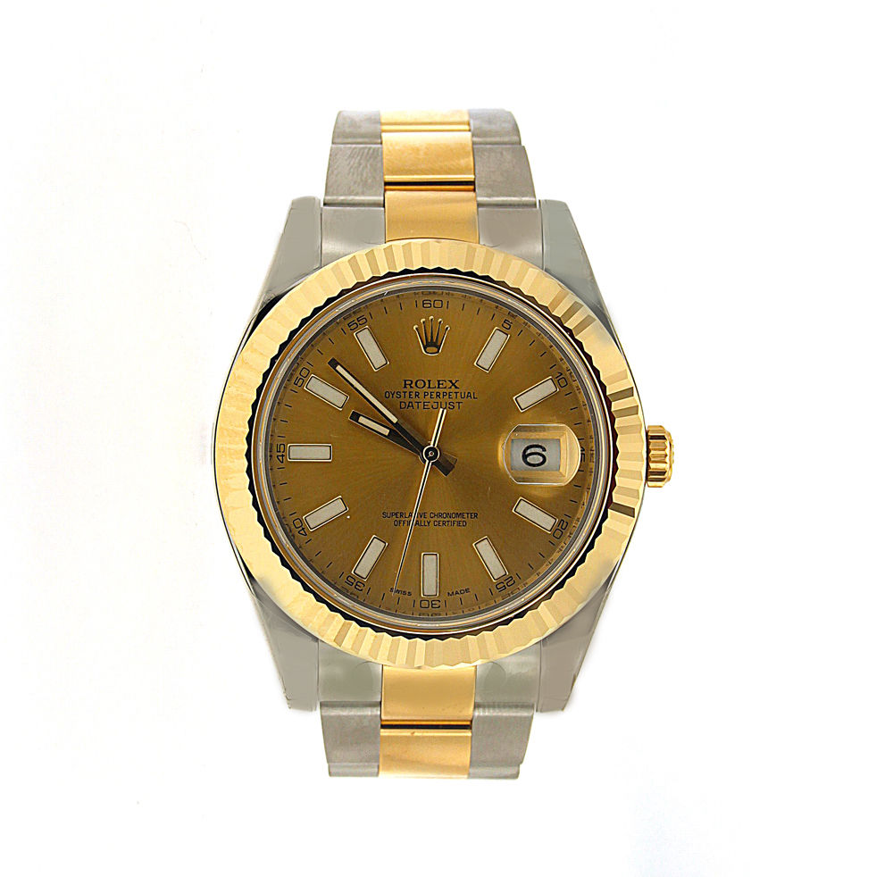 """Image of """"Rolex Datejust II 116333 Yellow Gold And Steel Gold Dial 41mm Watch"""""""