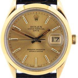 Rolex Date 15505 34mm 14K Yellow Gold Shell Watch